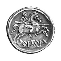 Back of a denarius coin from the city of Arekoratas